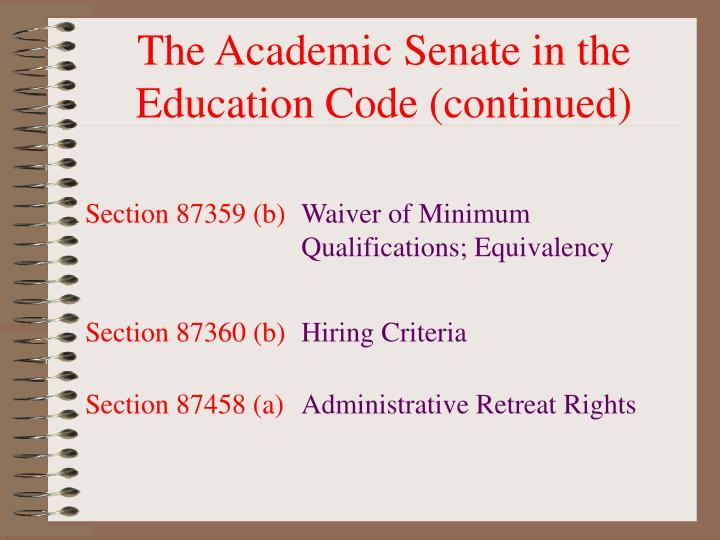The Academic Senate in the