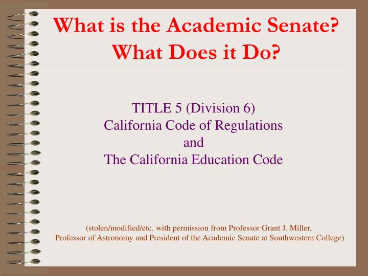 What is the academic senate what does it do
