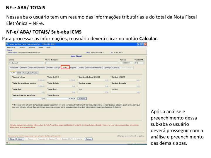 NF-e ABA/ TOTAIS