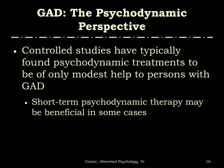GAD: The Psychodynamic Perspective