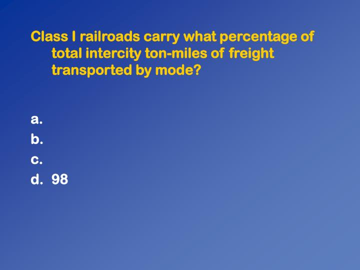 Class I railroads carry what percentage of total intercity ton-miles of freight transported by mode?