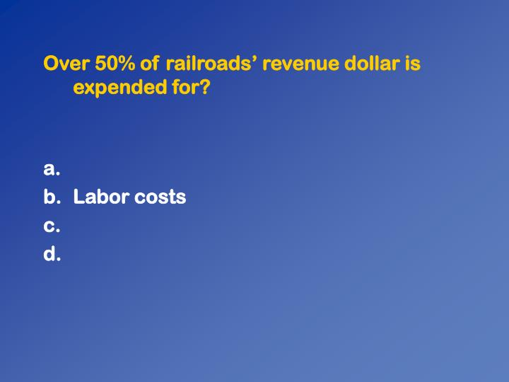 Over 50% of railroads' revenue dollar is expended for?