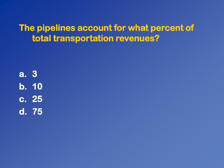 The pipelines account for what percent of total transportation revenues?
