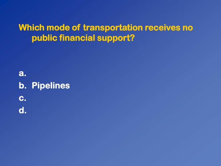 Which mode of transportation receives no public financial support?