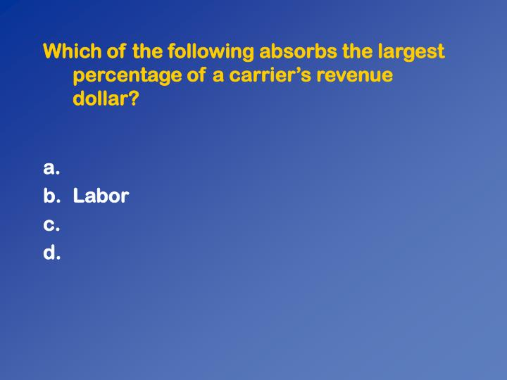 Which of the following absorbs the largest percentage of a carrier's revenue dollar?