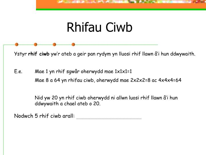 Rhifau Ciwb
