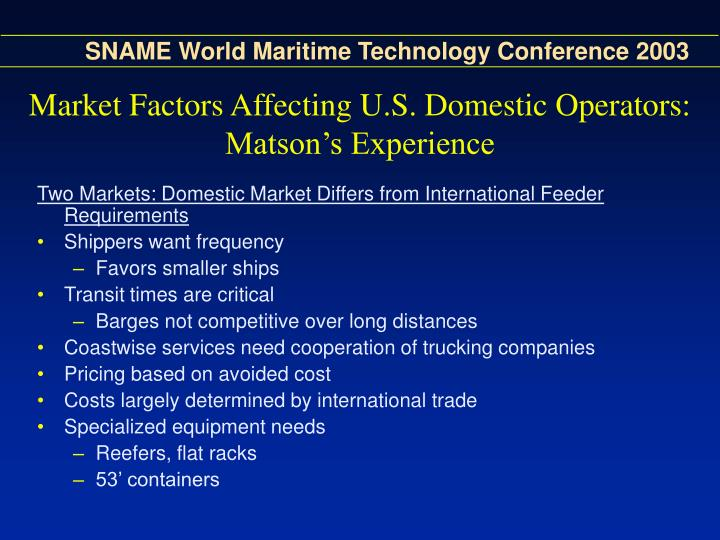 Market Factors Affecting U.S. Domestic Operators: