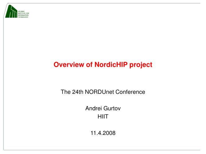 overview of nordichip project n.