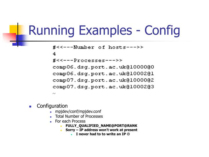 Running Examples - Config