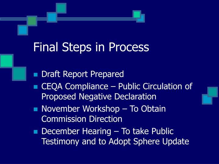 Final Steps in Process