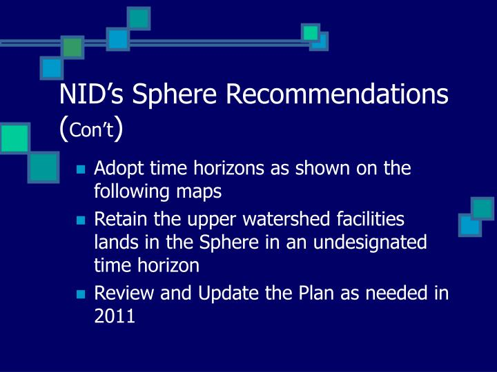 NID's Sphere Recommendations (
