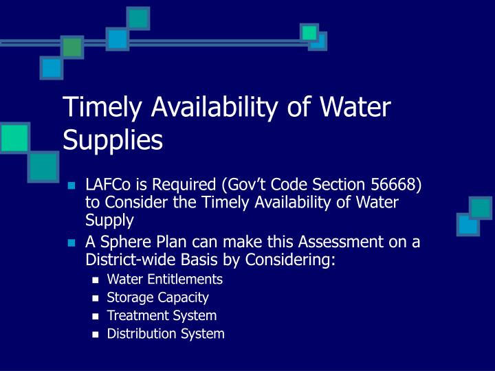 Timely Availability of Water Supplies