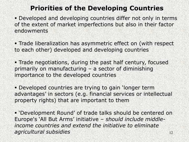 Priorities of the Developing Countries