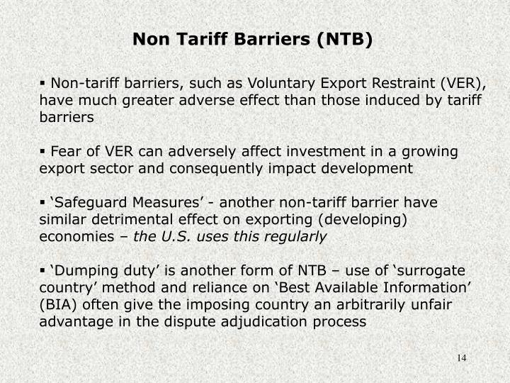Non Tariff Barriers (NTB)