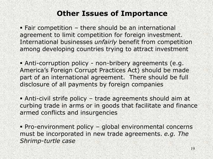 Other Issues of Importance