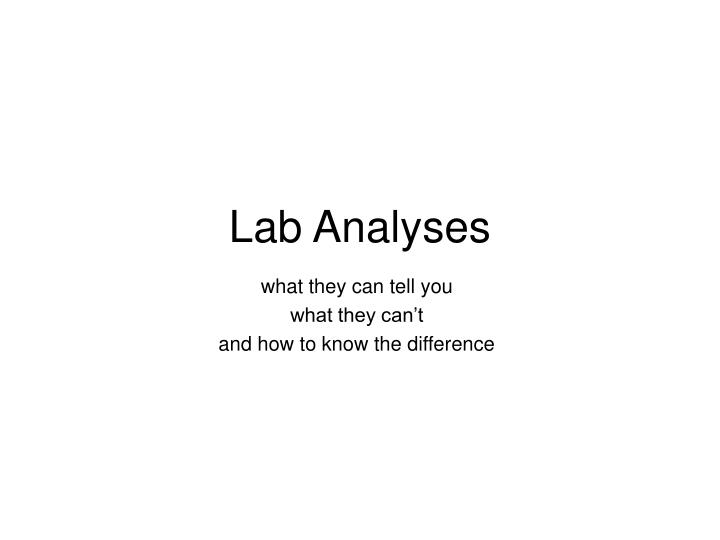 lab analyses n.