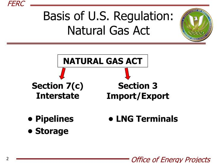 Basis of u s regulation natural gas act