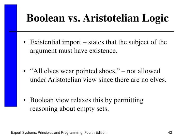 Boolean vs. Aristotelian Logic