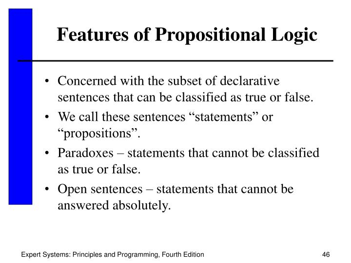 Features of Propositional Logic