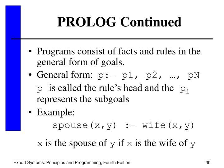 PROLOG Continued