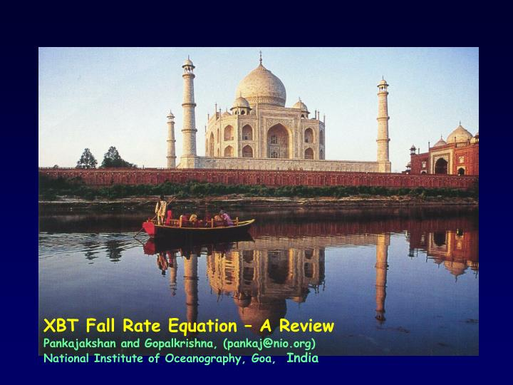 PPT - XBT Fall Rate Equation – A Review PowerPoint