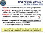 mais senior officials per title 10 chapter 144a