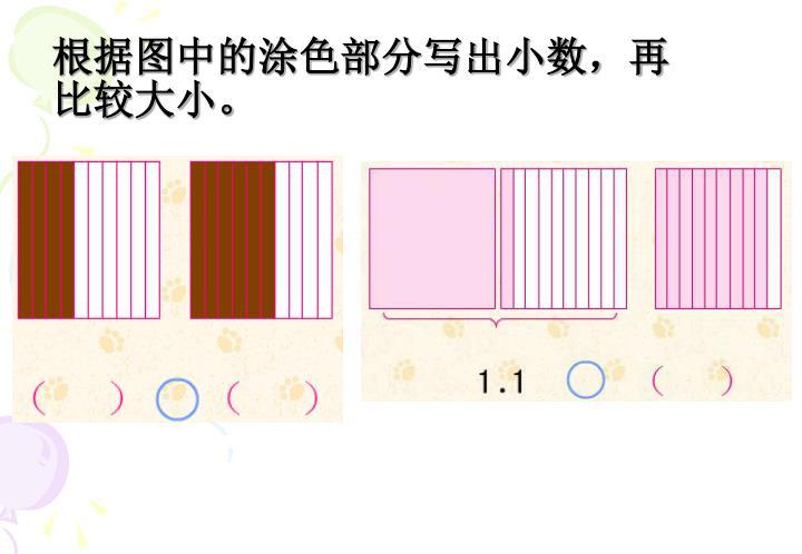 根据图中的涂色部分写出小数,再比较大小。