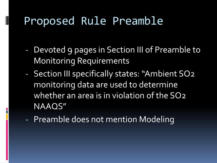 Proposed rule preamble