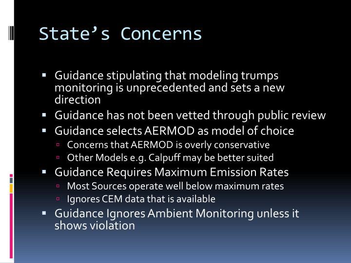 State's Concerns