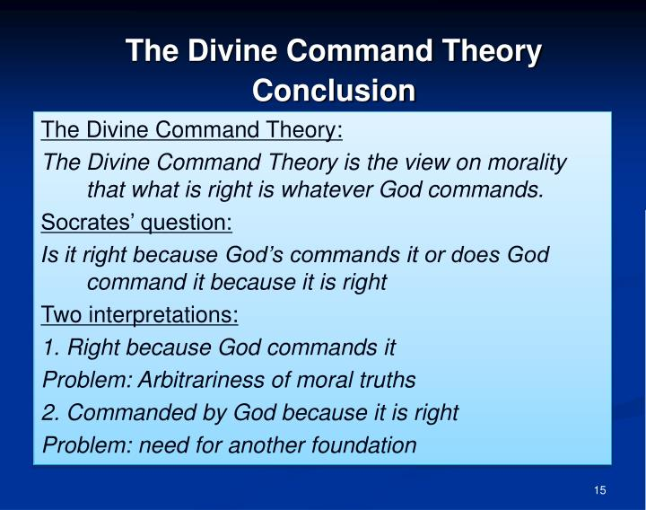 the theory of natural law vs divine command theory View test prep - review test2 divine command theory and natural law theory from phil 3325 at fairmont state review test divine command theory and natural law theory.