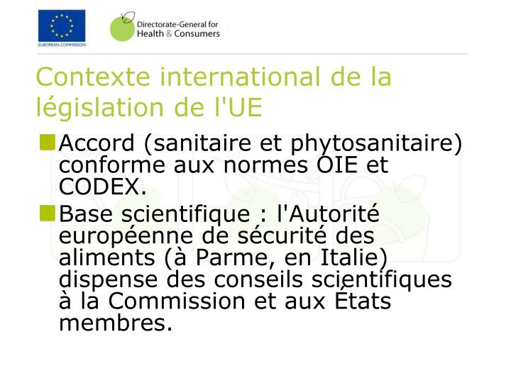 Contexte international de la législation de l'UE
