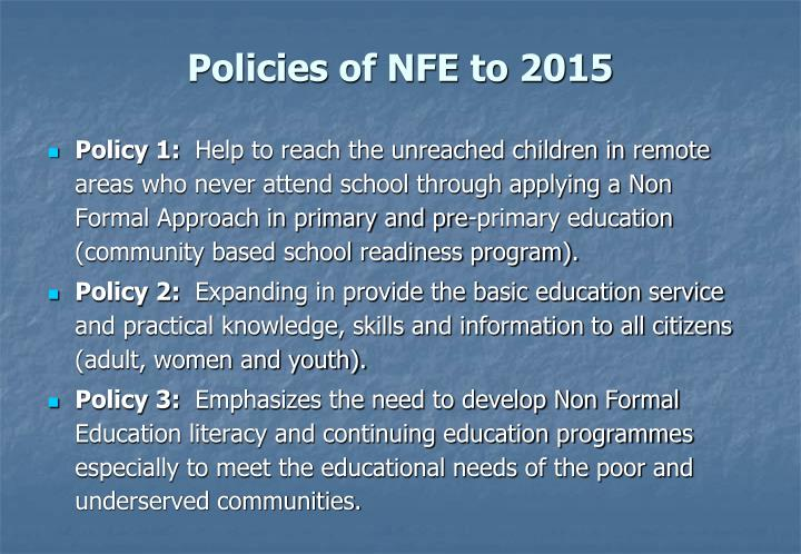 Policies of NFE to 2015