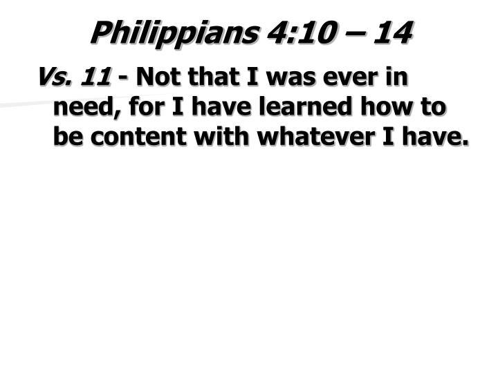 Philippians 4:10 – 14