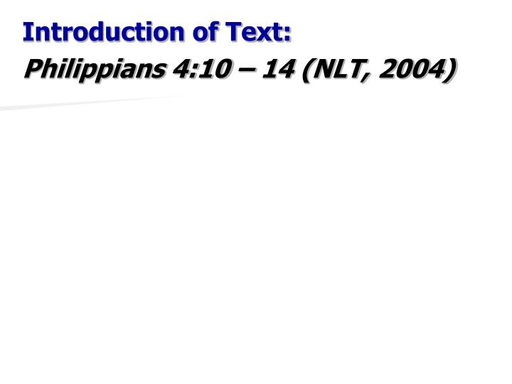 Introduction of Text: