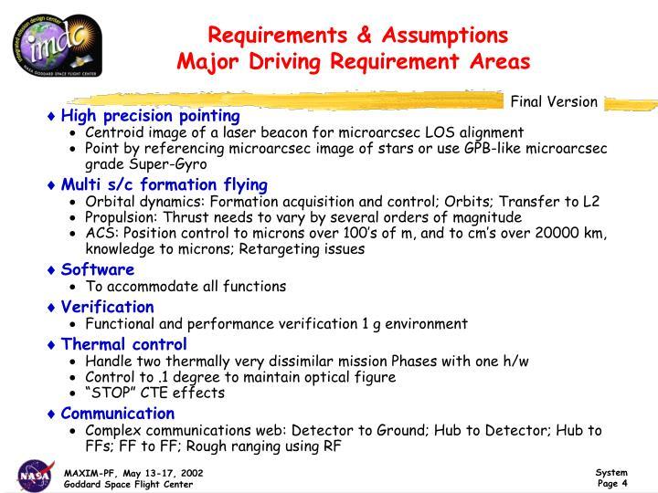 Requirements & Assumptions