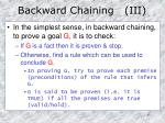 backward chaining iii
