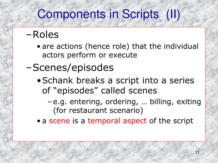 Components in Scripts  (II)