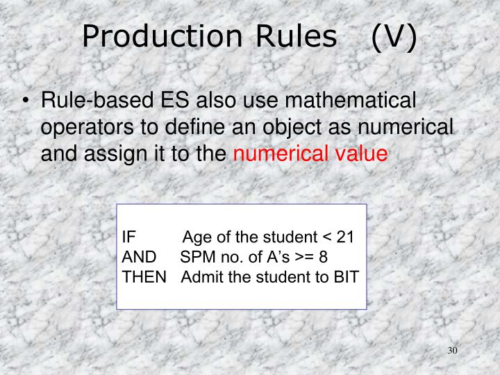 Production Rules   (V)