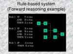 rule based system forward reasoning example