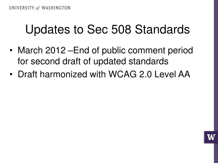 Updates to Sec 508 Standards