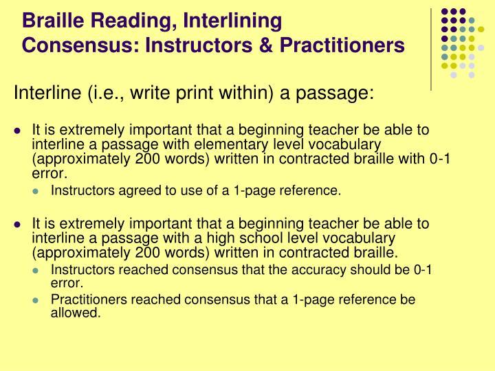 Braille Reading, Interlining