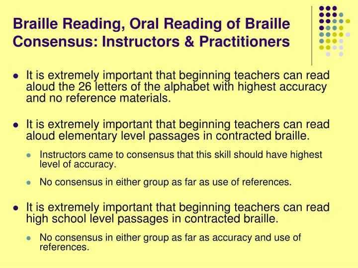 Braille Reading, Oral Reading of Braille