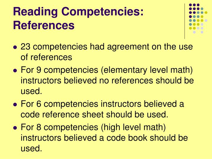 Reading Competencies: References