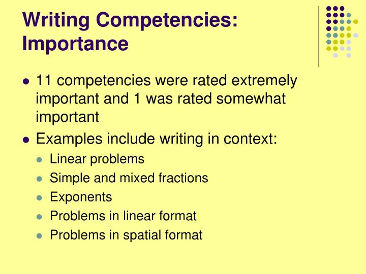 Writing Competencies: Importance