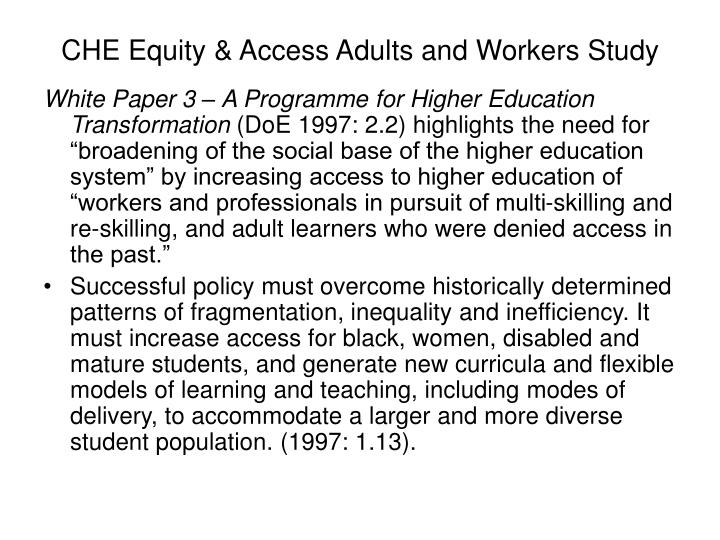 CHE Equity & Access Adults and Workers Study