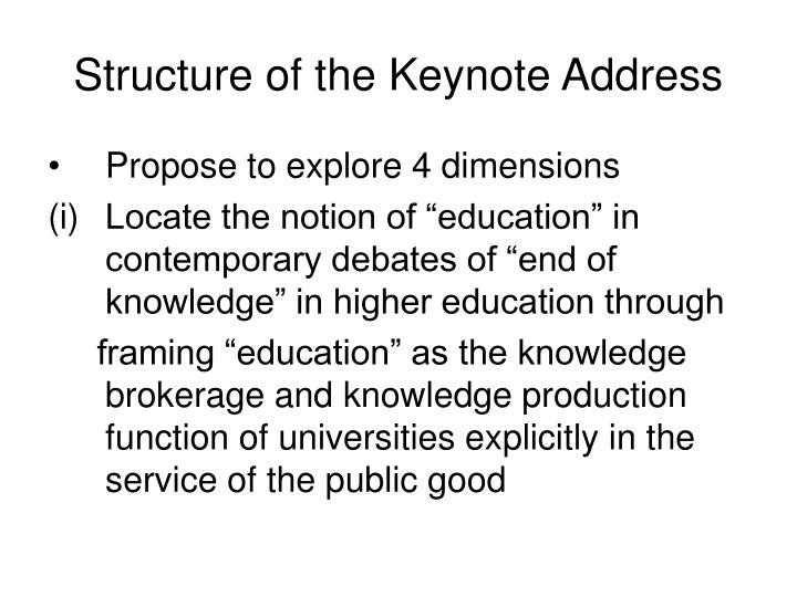 Structure of the Keynote Address