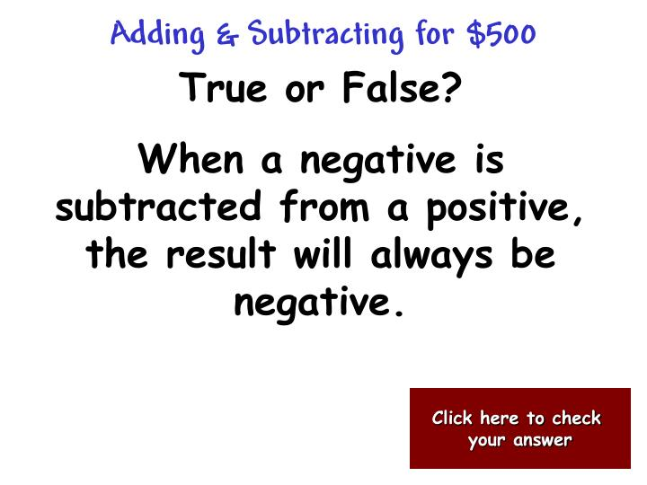 Adding & Subtracting for $500