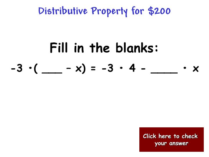 Distributive Property for $200