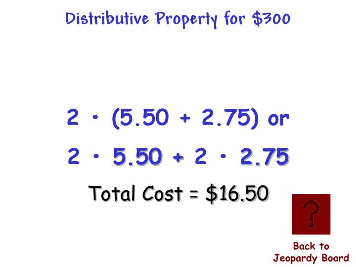Distributive Property for $300