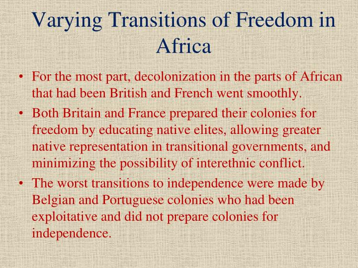 Varying Transitions of Freedom in Africa
